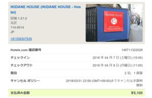 IKIDANE HOUSE決済画面