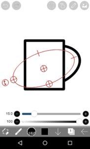 楕円形定規配置