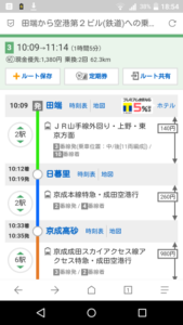 成田までのルート