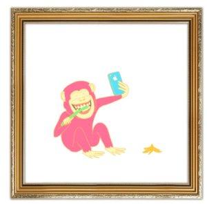 額に入った猿の絵